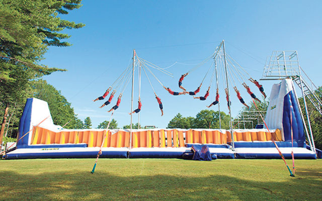 """It's a bird... it's a plane... it's the new """"trapeze center"""" at Camp Modin, the oldest Jewish summer camp in New England and the inspiration for the movie Wet Hot American Summer."""