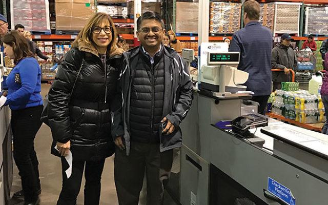 Surprise philanthropist Lux Chakrapani with Arleen Lichtenstein at Costco.