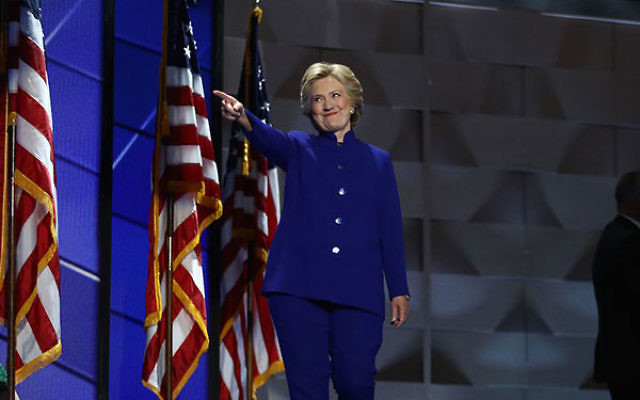 Hillary Clinton arriving on stage during the Democratic National Convention in Philadelphia, July 27, 2016. (Andrew Harrer/Bloomberg/Getty Images)