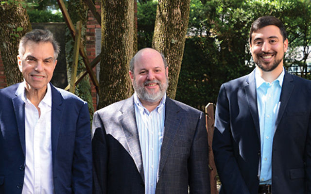 The new assistant rabbi of Temple Beth Shalom, Simeon Cohen, at right, with the congregation's president Mel Jacobs, left, and senior rabbi Geoffrey Spector, center. Photo by Jerry Siskind