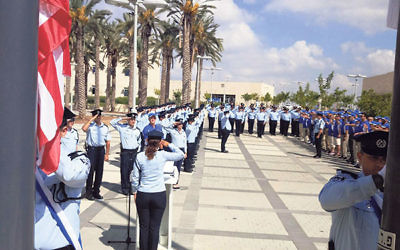 More than 50 U.S. law enforcement officers visiting Israel for the Unity Police Tour are welcomed at a ceremony at the Israel National Police headquarters in Jerusalem.