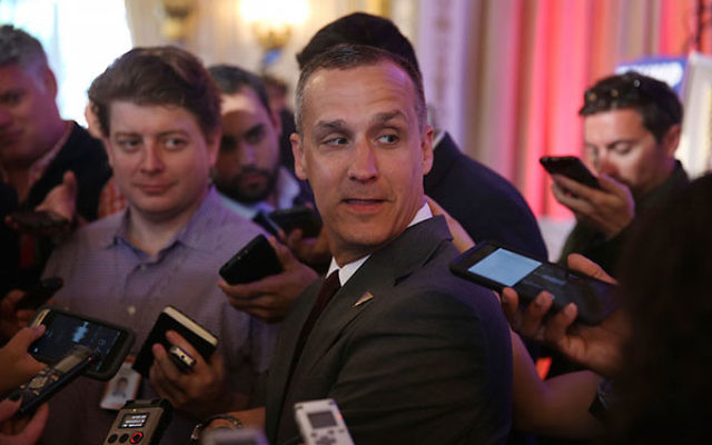 Corey Lewandowski speaking with the media at the Mar-A-Lago Club in Palm Beach, Fla., March 11, 2016. (Joe Raedle/Getty Images)