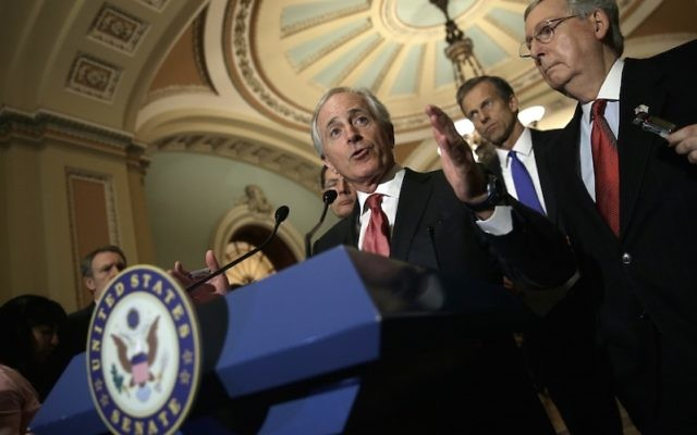 "Sen. Bob Corker of Tennessee, the Foreign Relations Committee chairman, at a Washington news conference, March 3, 2015. Corker wondered whether implementing the Iran agreement was worth dismantling a ""painstakingly constructed sanctions regime.&rdqu"