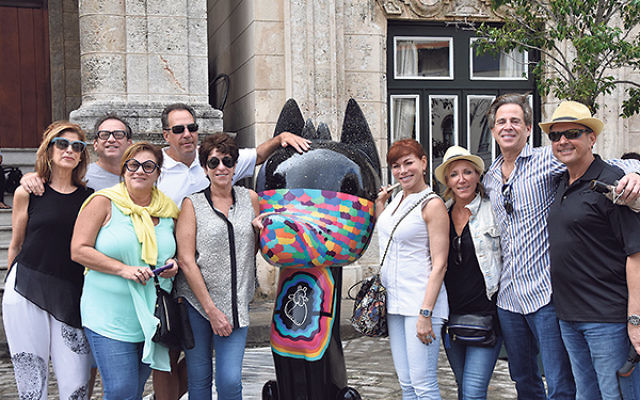 In Old Havana, which is undergoing an urban revitalization, are, from left, Iris Acker, Marc Liechtung, Sheryl Grutman, Glen Barbakoff, Gwen Barbakoff, Louisa Liechtung, Lauren Reich, Jeff Acker, and Nathan Reich.