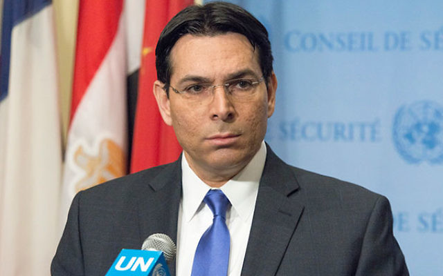 Ambassador Danon speaking to the press before the United Nations Security Council's quarterly debate on the ongoing conflict between Israel and Palestine. (Albin Lohr-Jones/Pacific Press/LightRocket via Getty Images)
