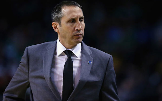 David Blatt looking on as his Cleveland Cavaliers played the Boston Celtics at the TD Garden in Boston, Dec. 15, 2015.