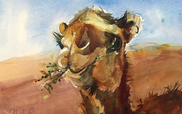 A desert-inspired watercolor by Marilyn Rose of West Caldwell