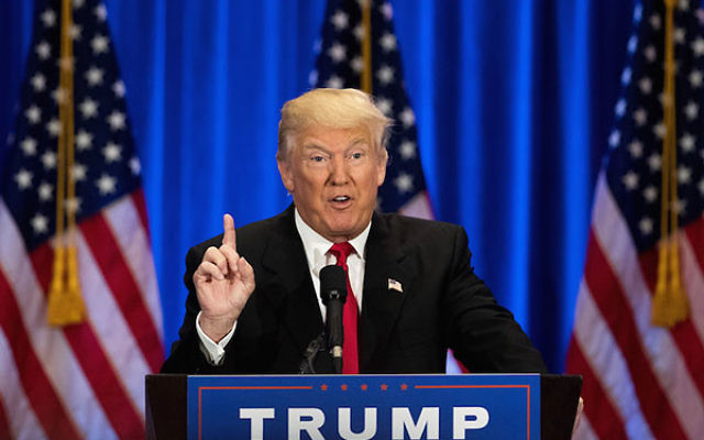 Donald Trump speaking during an event at Trump SoHo Hotel in New York City, June 22, 2016. (Drew Angerer/Getty Images)