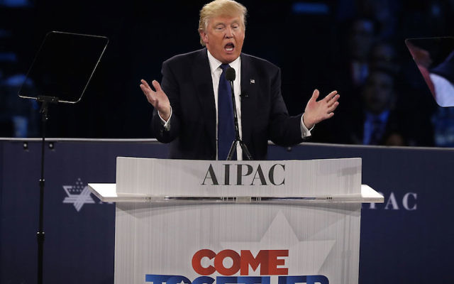 Donald Trump addressing the annual policy conference of the American Israel Public Affairs Committee in Washington, D.C., March 21, 2016. (Alex Wong/Getty Images)