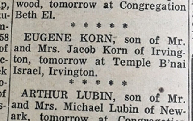 Bar mitzvah announcements from the March 25, 1960, issue of The Jewish News. Photo Courtesy Jewish Historical Society of NJ