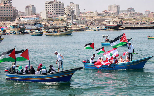 Gazans mark the fifth anniversary of the Mavi Marmara Gaza flotilla at the Gaza City seaport, May 31, 2015. (Aaed Tayeh/Flash90)