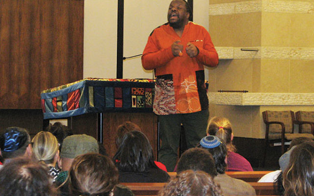 Pastor Kevin Taylor of the Unity Fellowship Church in Newark was among the clergy members who addressed a crowd of 150 at Congregation Beth El in South Orange on Nov. 10.