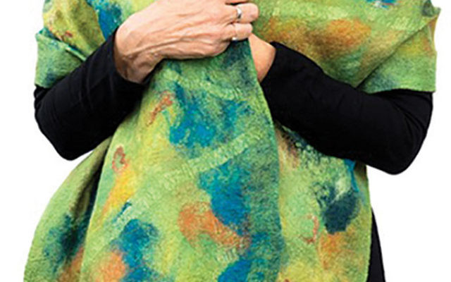 """Judith Daniels, Green Shawl Nuno Felted Wool, from """"The Fiber of Our Being"""""""