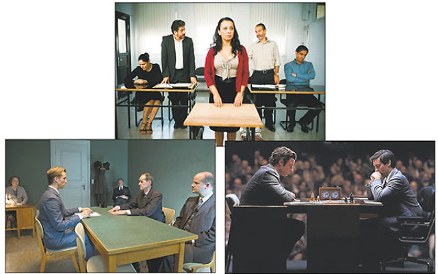 Clockwise from top, a scene from Gett, Liev Schreiber and Tobey Maguire as Boris Spassky and Bobby Fischer, respectively, in a scene from Pawn Sacrifice, and a scene from Legacy of Lies.