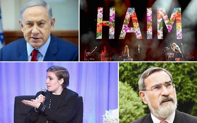 Clockwise, starting from top left, Benjamin Netanyahu, HAIM, Rabbi Jonathan Sacks and Lena Dunham.