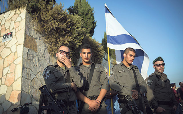 Soldiers attending the funeral of Alon Albert Govberg, who was murdered in a terror attack in Jerusalem, Oct. 14.