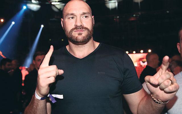 Tyson Fury before the Heavyweight European Championship at Barclaycard Arena in Hamburg, Germany, May 7.