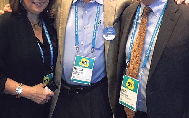 Mark Merkovitz and Paula Joffe meet with Harold Grinspoon, center, founder of the Grinspoon Foundation and funder of PJ Library, at the General Assembly.