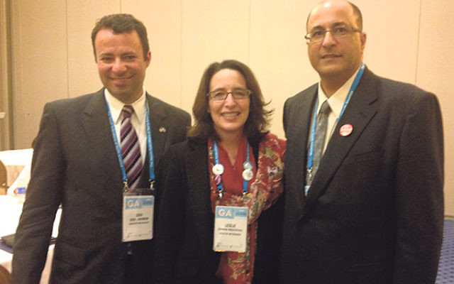 At the Jewish Federations of North America's General Assembly, Ido Aharoni, Israel's consul general in New York, right, with Jewish Federation of Greater MetroWest NJ president Leslie Dannin Rosenthal and CEO/executive vice president Dov Ben-S