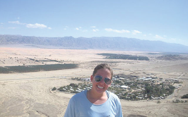 Helene Zinckgraf, now a senior at the University of Delaware, spent a year in Israel after graduating from Morristown High School. Here, she is in Israel on top of a mountain with a view of Kibbutz Ketura, where she lived.