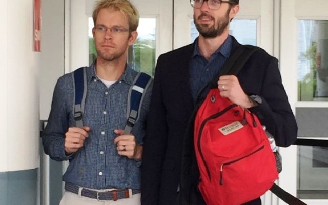 Plaintiff Michael Ferguson, right, and his husband, Seth Anderson, after testifying this week against JONAH.