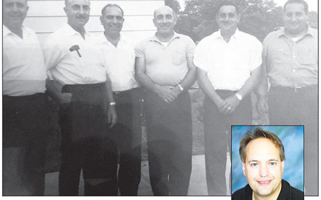 The Gellman brothers on the family farm, from left, Dave, Nathan, Irvin, Abe, Sid, and Gary's father, Manny, and Gary Gellman, inset.