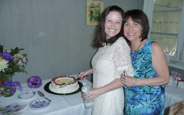 Sheryl Lanman Nichols with her mother, Sandra Lanman, during Sheryl's bridal shower. Nichols had a mammogram the next day and learned she had breast cancer caused by a gene common in Ashkenazi Jews. Photo courtesy Sandra Lanman