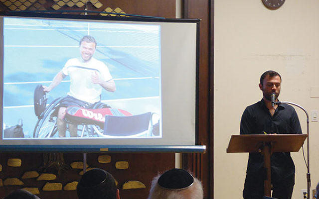 Noam Gershony sharing his story at the Friends of the IDF event, Sept. 19.