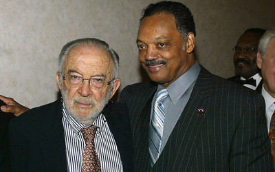 Stanley Sheinbaum and the Rev. Jesse Jackson at an awards dinner and birthday celebration for Jackson in Beverly Hills, Calif., Oct. 14, 2004. (Frederick M. Brown/Getty Images)
