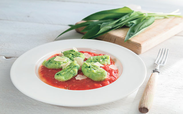Potato Spinach Gnocchi with Tomato Sauce