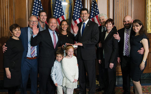 House Speaker Paul Ryan, right,administered the oath of office to Rep. Josh Gottheimer on Jan. 3.