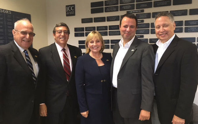 Lt. Gov. Kim Guadagno is flanked by, from left, Gordon Haas, president, and Mark Levenson, past president, NJ State Association of Jewish Federations; and Dov Ben-Shimon, executive vice president/CEO, and Scott Krieger, president, Jewish Federation of Gre