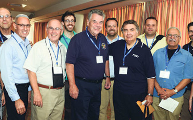 Members of the solidarity mission gather in Tel Aviv, including Rabbi Joshua Gruenberg, fourth from right, and U.S. Rep. Peter King, center.