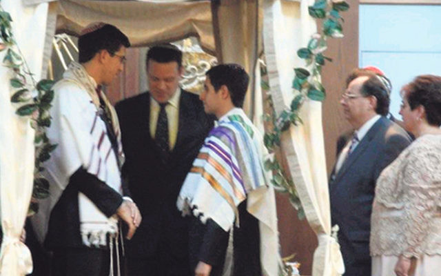 Rabbi Joshua Gruenberg performs a same-sex Jewish wedding ceremony in New York City in 2010 for a Bergen County couple.