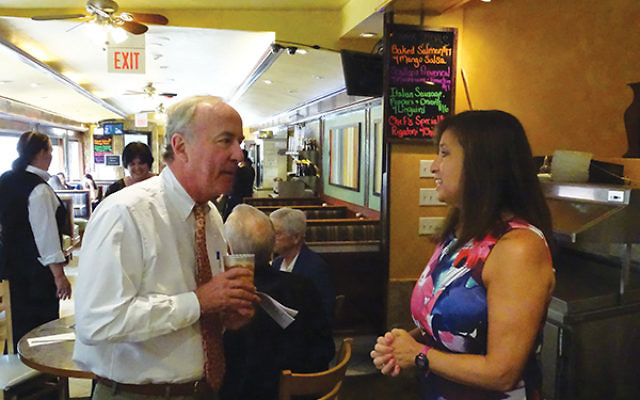 Rep. Rodney Frelinghuysen chats with Stephanie Bonder, immediate past president of Hadassah's Northern NJ region. Photos by Robert Wiener