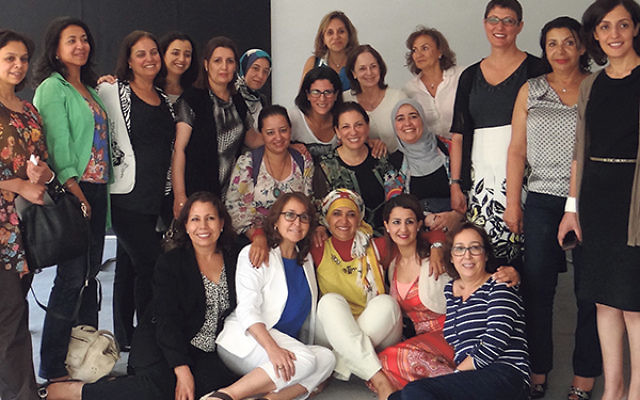 Meryl Frank, second row, center, with women leaders she worked with in Morocco.