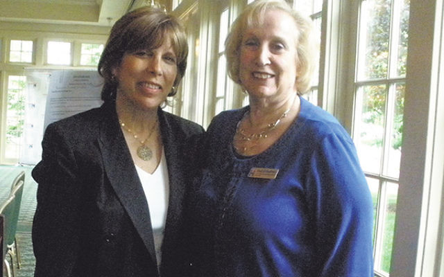 Former CNN Middle East correspondent Linda Scherzer, left, spoke of the difficulty journalists have in struggling to maintain fairness in Middle East coverage. She is shown with Hadassah Southern New Jersey president Sherryl Kaufman.