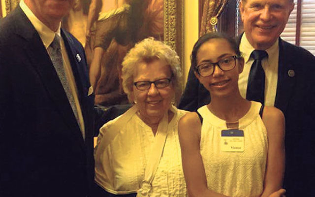 Among the NJ legislators Hannah Likier met with on her trip to Trenton to deliver the Lead Free Kids NJ handprints are, from left, Deputy Assembly Speaker John Wisniewski (D-Dist. 19), Senate Majority Leader Loretta Weinberg (D-Dist. 37), and Assemblyman