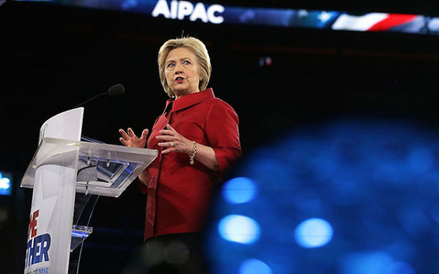 Hillary Clinton addressing the annual AIPAC policy conference in Washington, D.C., March 21, 2016. (Alex Wong/Getty Images)