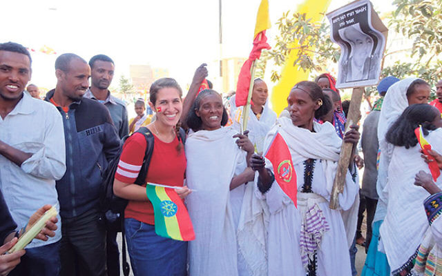 Esther Hindin joins in the festivities at the 40th anniversary parade of the Tigray People's Liberation Front. The parades are held every five years.