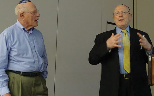Bernard, left, and Henry Schanzer tell their story of survival at a Lunch & Learn session at the Holocaust Council of Greater MetroWest.