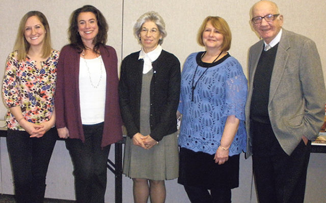 Leaders of a federation-sponsored parent workshop on how to teach youngsters about the Holocaust were, from left, teachers Danielle Burke, Sara Fernandez, Deborah Pecora, and Rachel Pasichow, and Dr. Paul Winkler, executive director of the NJ Commission o