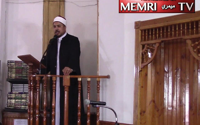 "Sheik Aymen Elkasaby called for ""Allah to wreak vengeance"" on the ""Jewish oppressors"" of the Temple Mount and to ""kill them down to the very last one."" Photos courtesy MEMRI"