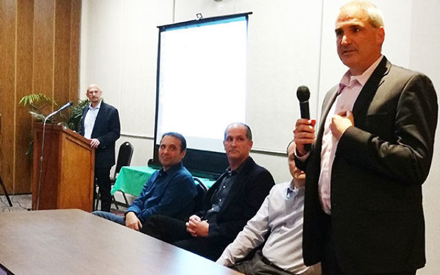 Dan Danai said American investment in Israeli start-ups could increase under the new presidential administration. Panel members from left, Alex Kaplun, Avi Lindenbaum, and Joel Presman. Moderator Ofer Levy is in the background.