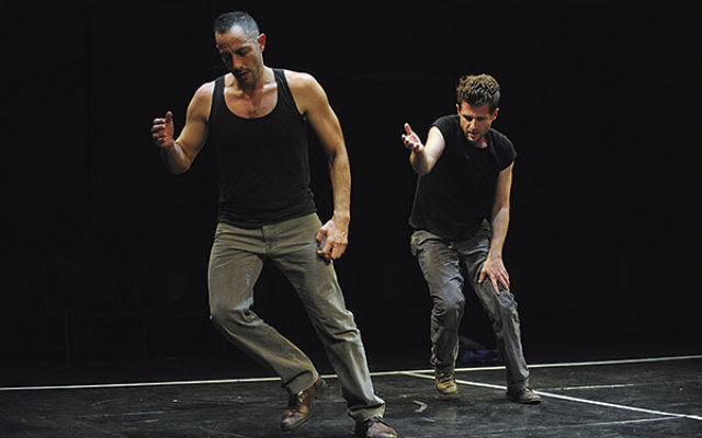 Israeli dancers and choreographers Oren Laor, left, and Niv Sheinfeld perform an original piece.