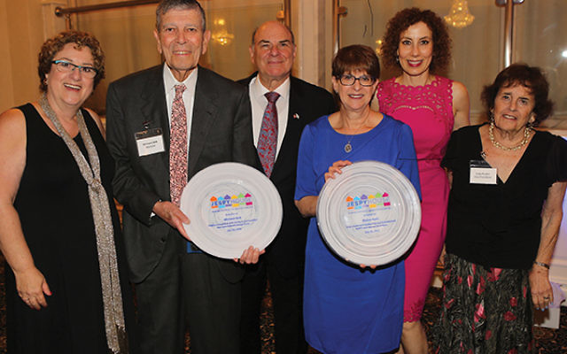 Audrey Winkler, at left, executive director, JESPY House; Dr. Michael Och, honoree and board member; Ronald Brandt, president, JESPY Board; Elaine Katz, honoree and past president, JESPY Board; and JESPY fund-raising committee co-chairs Susan Weinstock an