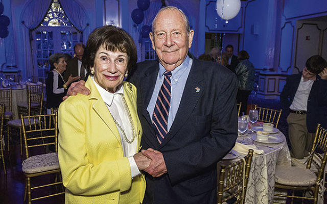 Robert Cowen Jr. and his wife, Ilene, after receiving his Lasting Achievement Award from the Jewish Historical Society of NJ on May 24.