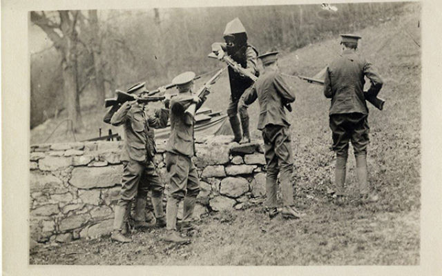 Guy Brewster challenged soldiers to shoot him to demonstrate the effectiveness of the bulletproof armor he designed. Photo courtesy Jewish Historical Society of NJ