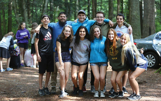 Talia Rudy, first row, third from the right, on an NCSY leadership retreat with Rabbi Shmuel Greene, director of NCSY's Central and Southern New Jersey region, and teens who participated in The Jerusalem Journey travel program.