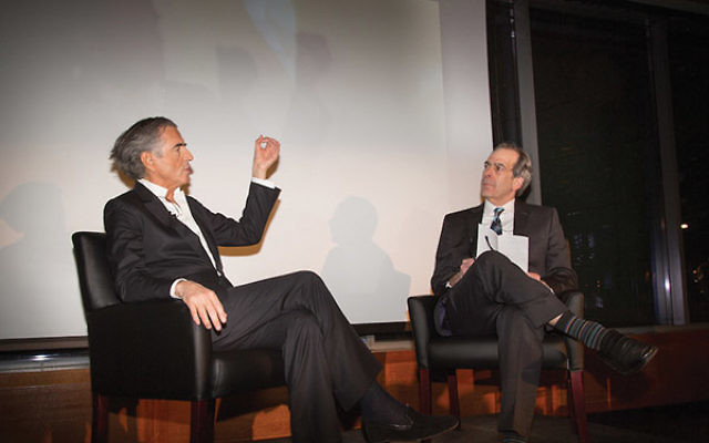 JTA editor-in-chief Andrew Silow-Carroll (right), who held the same position at NJJN for 14 years, interviews French philosopher Bernard-Henri Lévy at JTA's centennial gala at the Museum of Jewish Heritage-A Living Memorial to the Holocaust i